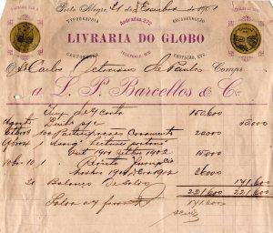 Recibo de compras feitas em 1901 na Livraria do Globo, entre elas  100 participações de casamento.